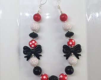 Red Black White Minnie Mouse Bubblegum Toddler Girls Necklace