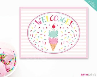 Instant Download Ice Cream Printable Party Welcome Sign, Ice Cream Cone Party Sign, Ice Cream Party Printable, Sprinkles Party