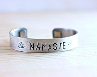 Namaste Bracelet, Namaste Jewelry, Yoga Jewelry, Yoga Bracelet, Om Symbol, Om Bracelet, Om Jewelry