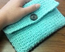 Fabric Lined Crochet Clutch, Wallet, Cosmetic Bag, Aqua Clutch