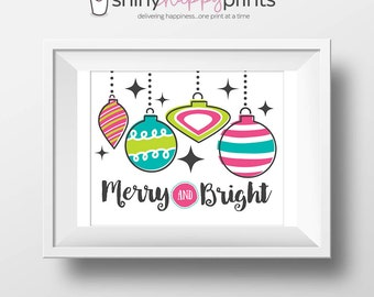 Merry & Bright Christmas Digital Print, Christmas Print, Pink Lime Teal Retro Ornament, DIY Instant Download Holiday, Shiny Happy Prints