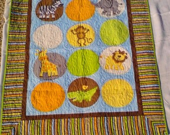 Baby Quilt, Zoo Animals Quilt, Crib Quilt