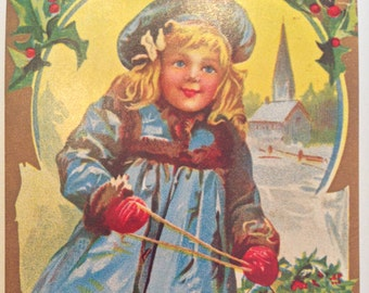 Christmas Greetings postcard vintage antique reproduction post card