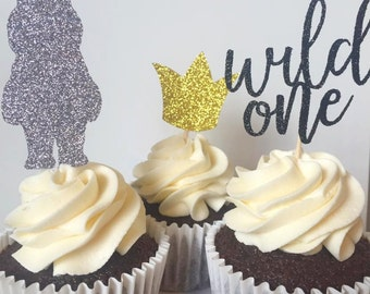 Where the Wild Things Are Glitter Cupcake Toppers, First Birthday Cupcake Toppers, Wild One Birthday