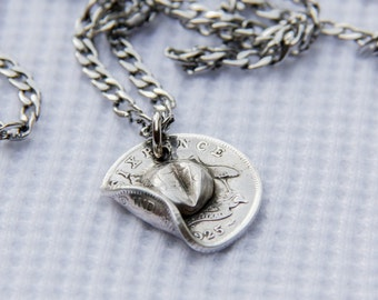 Australian ANZAC  Six Pence Coin Slouch Hat - Pendant Necklace