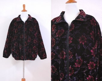 80s/90s Velvet Pink and Purple Lotus Flower Floral Bomber Jacket Size Large