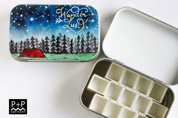 Wanderlust - Original Hand painted Mini Watercolor palette in Altoid style tins. Empty Half pans.