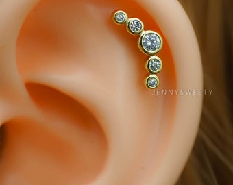 cartilage earring, cartilage piercing, 16g, cartilage stud, helix piercing, helix earring CZ gold 5 stars