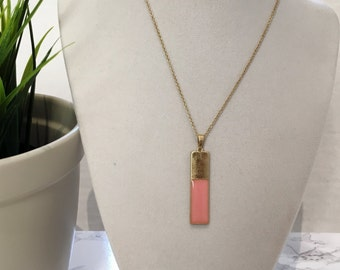 Simple Colored Bar Necklace, Pink Bar Necklace, Pendant Necklace, Bridesmaids Necklace, Dainty Necklace