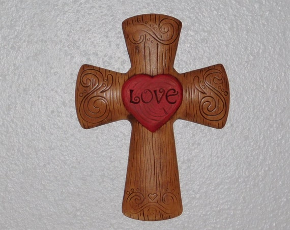 Cross Wall Hanging love cross wall hanging ceramic cross heart christian