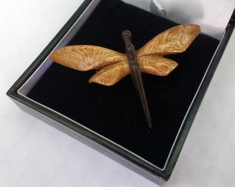 Hand carved Dragonfly Brooch in Lacewood and Rosewood