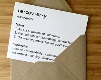 Recovery Card. Inspirational recovery card, addiction recovery card, sobriety card, rehab card, encouragement card, aa anniversary card