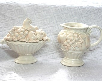 Vintage Fitz and Floyd Creamer and Sugar Bowl, Cream Omnibus Fitz and Floyd 1995 Sugar and Creamer, Fruit Creamer, Apple and Grapes Decor