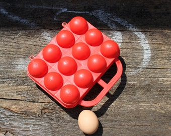 Egg Holder - Vintage Egg Box - Plastic Egg Container - Egg Basket - Red Kitchen Box for 12 Eggs - Egg Storage Box - Farmhouse - Nar Mag