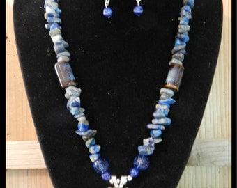 Pretty in Denim II, Wyoming Bucking Horse Concho Necklace with Lapis Chips