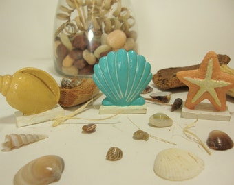 3 Home Seashell Figurines. One Conch Shell, One Blue Fan Seashell & One Coral Starfish, Resin Material. Mini Statues, Home Interiors