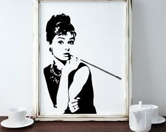 Giclee Print - Audrey Hepburn Artwork - Breakfast at Tiffany's - Art Print - Audry Hepburn - Tiffanys - Paper Print - Holly Golightly