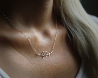 Birds Link Necklace In Sterling Silver
