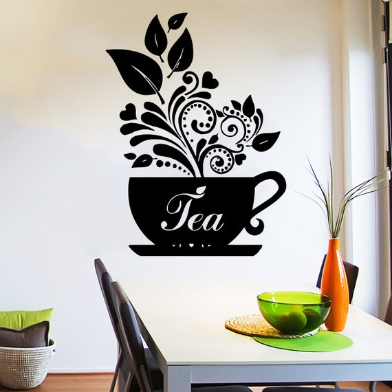 Wall decal tea cup of tea decals cafe dining vinyl stickers - Wall decor stickers online shopping ...