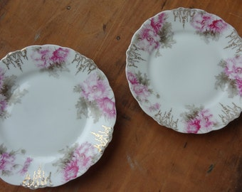 J & C Malmaison Bread and Butter Plates - Pink Floral Plates
