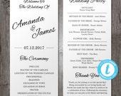 Printable Wedding Program Template, Instant Download - Edit in Our Web App - Clean & Cursive - Tea Length Program