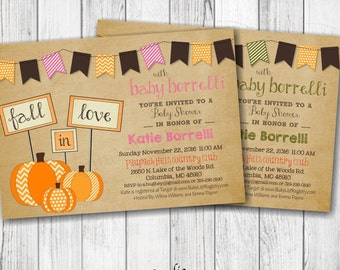 Fall In LOVE Baby Shower Invitations - Boy, Girl or Gender Neutral - Personalized - Printable 5x7 or 4x6 - Front & Back Included