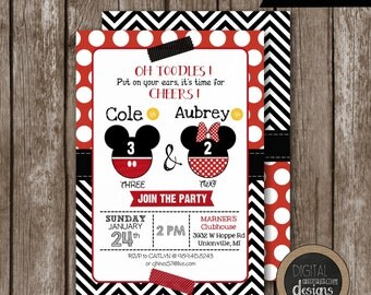 Mickey & Minnie Mouse Birthday Invitation - Oh TOODLES Put On Your Ears It's Time For Cheers - Siblings - TWINS -