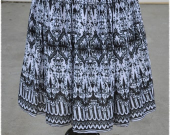 In Stock: LAST TWO! Black and White Haunted Victorian Limited Edition Skirt Size  Large (10-12) or 2X (18-22)