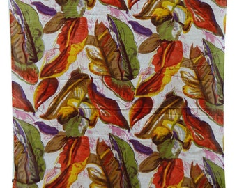 """Dressmaking Fabric, Leaf Print, White Fabric, Home Accessories, Crafting, 43"""" Inch Cotton Fabric By The Yard  ZBC1948"""