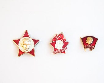 Vintage Soviet pin set 3 pcs Soviet propoganda red star vintage pin young pioneer komsomol history Lenin communism pins