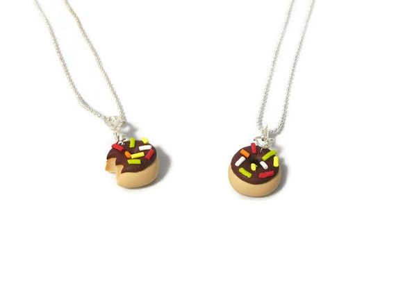 Chocolate Best friend Vanilla donut necklace, donut necklace, Donut charm, Polymer clay charm, clay charm, food charm, novelty jewelry,