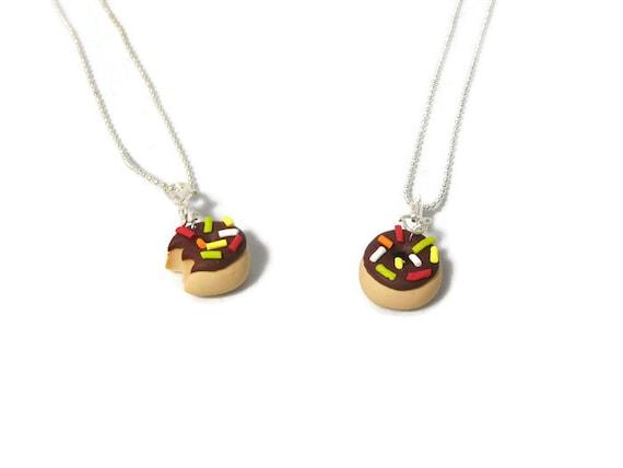 Chocolate Best friend Vanilla donut necklace, donut necklace, Donut charm, Polymer clay charm, clay charm, food charm, novelty jewelry,