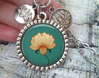 Lotus Flower Image Necklace In Antique Silver Finish with Lotus Flower Charms