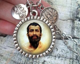 Ramakrishna Paramahamsa Necklace In Antique Silver with Lotus Flower Charms, Master, Saint, Yogi