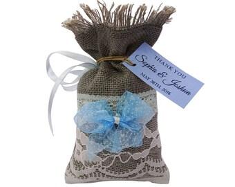 Wedding Favor Bags, Burlap Favor Bag, Rustic Favor Bags With Custom Tags, Bridal Wedding Bag, 20 Wedding Party Favor Bags, Bridal Gift FAB85