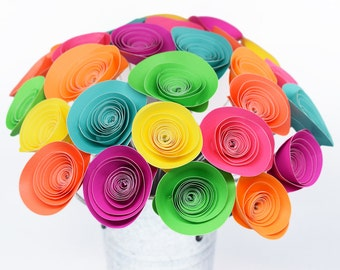 80s Party Decor- 28 Neon Paper Flowers, Neon Birthday Party Decorations, Neon Party Centerpiece, Cute Office Decor, Neon 80s Party Decor