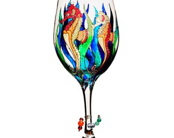 """Hand painted Wine Glass """"Seahorse"""""""