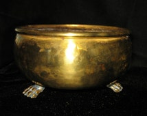 Vintage S.W. Farber New York Brass Clawfoot Bowl