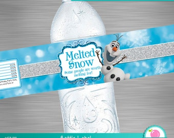 INSTANT DOWNLOAD Frozen Water Bottle Label, Frozen Melted Snow Label, Frozen Printable Label, Frozen Melted Olaf, Frozen Bottle Label DIY