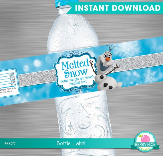 INSTANT DOWNLOAD Frozen Water Bottle Label, Frozen Melted ...