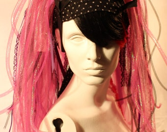 CYBER dread Falls / PINK / PURPLE/ black / lace / ribbon / tubular crin