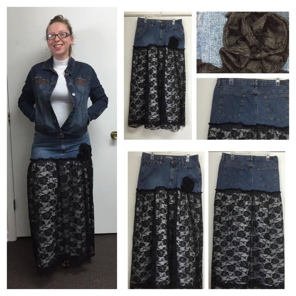 denim and lace maxi skirt