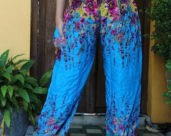 Women Harem pants Hippie Pants Bohemian Clothing Flowers Pants design Blue Sky
