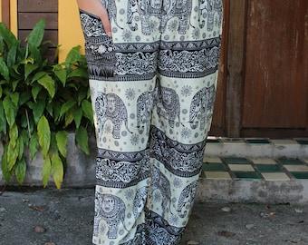 Hippie clothing Boho Pants Yoga Pants Elephant pants Tribal pants in black unisex