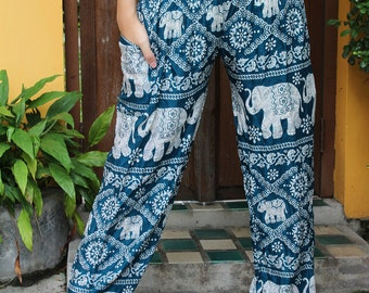 Hippie clothing Bohemian Pants Harem Pants Elephant wild in Green