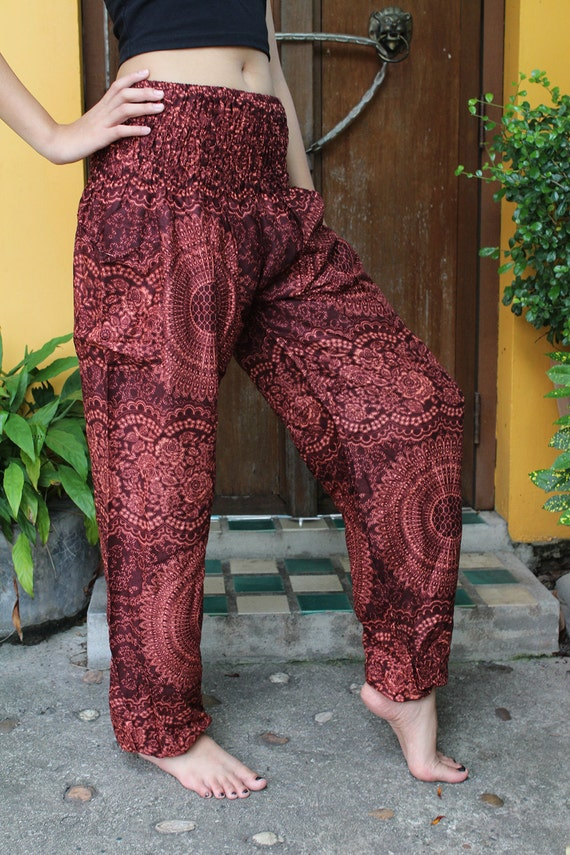 Awesome Mandala Harem Hippie Pants In Turquoise For Women