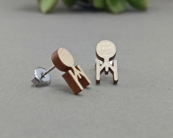 FREE US SHIPPING - Star Trek Enterprise Post Earrings - Laser Engraved Wood Earrings - Hypoallergenic Titanium Post Earring Pair