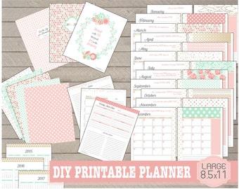 2016 Printable Planner 8.5 x 11 Digital Download