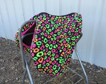 Neon animal print saddle cover - custom neon print cover