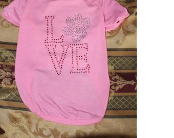 Rhinestone Love - Customized Dog Shirt